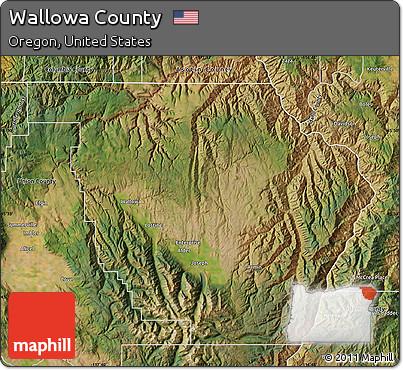 Satellite Map of Wallowa County