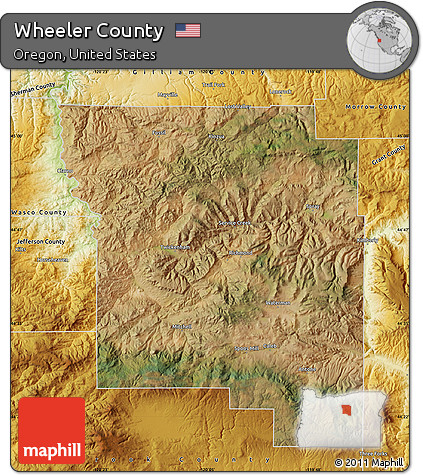 Wheeler Oregon Map.Free Satellite Map Of Wheeler County Physical Outside