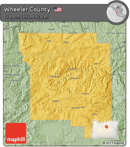 Wheeler Oregon Map.Free Savanna Style Map Of Wheeler County