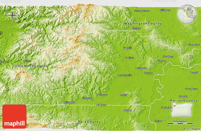 Physical 3D Map of Yamhill County on mcminnville map, oregon map, carlton or map, willamette valley county map, durham county map, kanabec county map, lincoln county map, linn county map, dunthorpe map, cowlitz county map, weston county map, clackamas county map, albany county map, columbia county map, dayton county map, portland county map, ashland county map, eugene county map, wallowa county map, marion county map,