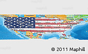 Flag Panoramic Map of United States, political outside