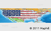 Flag Panoramic Map of United States, political shades outside