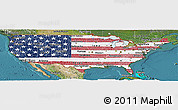 Flag Panoramic Map of United States, satellite outside
