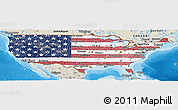 Flag Panoramic Map of United States, shaded relief outside