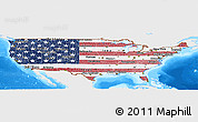 Flag Panoramic Map of United States, single color outside, bathymetry sea