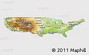 Physical Panoramic Map of United States, cropped outside