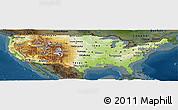 Physical Panoramic Map of United States, darken