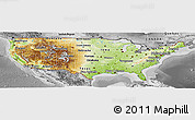Physical Panoramic Map of United States, desaturated