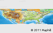 Physical Panoramic Map of United States, political outside, shaded relief sea