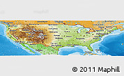 Physical Panoramic Map of United States, political shades outside, shaded relief sea