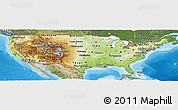 Physical Panoramic Map of United States, satellite outside, shaded relief sea