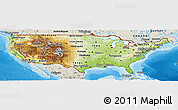 Physical Panoramic Map of United States, shaded relief outside