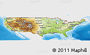 Physical Panoramic Map of United States, single color outside