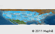 Political Shades Panoramic Map of United States, darken