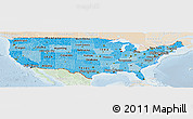 Political Shades Panoramic Map of United States, lighten