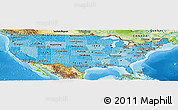 Political Shades Panoramic Map of United States, physical outside