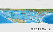 Political Shades Panoramic Map of United States, satellite outside, bathymetry sea