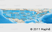 Political Shades Panoramic Map of United States, shaded relief outside, bathymetry sea