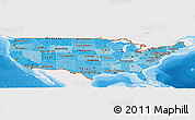 Political Shades Panoramic Map of United States, single color outside