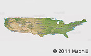 Satellite Panoramic Map of United States, cropped outside