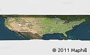 Satellite Panoramic Map of United States, darken