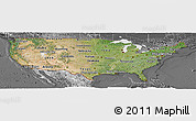Satellite Panoramic Map of United States, desaturated