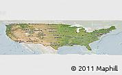 Satellite Panoramic Map of United States, lighten