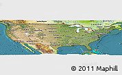 Satellite Panoramic Map of United States, physical outside, satellite sea