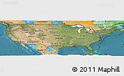 Satellite Panoramic Map of United States, political outside, satellite sea
