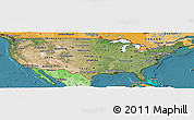 Satellite Panoramic Map of United States, political shades outside, satellite sea
