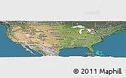 Satellite Panoramic Map of United States, semi-desaturated, land only