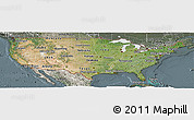 Satellite Panoramic Map of United States, semi-desaturated