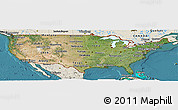 Satellite Panoramic Map of United States, shaded relief outside, satellite sea