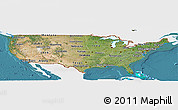 Satellite Panoramic Map of United States, single color outside