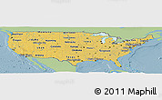 Savanna Style Panoramic Map of United States, single color outside