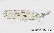 Shaded Relief Panoramic Map of United States, cropped outside