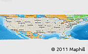 Shaded Relief Panoramic Map of United States, political outside, shaded relief sea