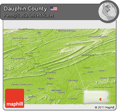 Free Physical D Map Of Dauphin County - Dauphin county on us map
