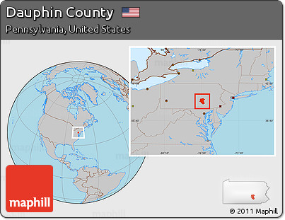 Free Gray Location Map Of Dauphin County - Dauphin county on us map