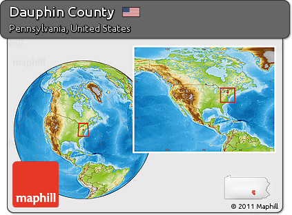 Free Physical Location Map Of Dauphin County Within The Entire - Dauphin county on us map