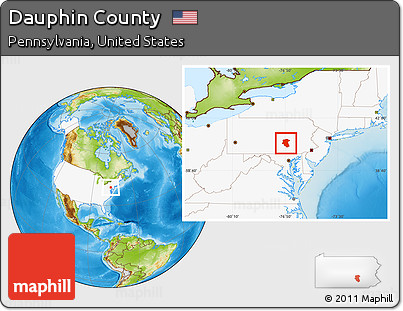 Free Physical Location Map Of Dauphin County Highlighted Country - Dauphin county on us map