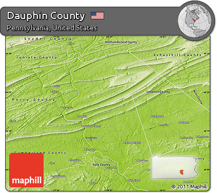 Free Physical Map Of Dauphin County - Dauphin county on us map