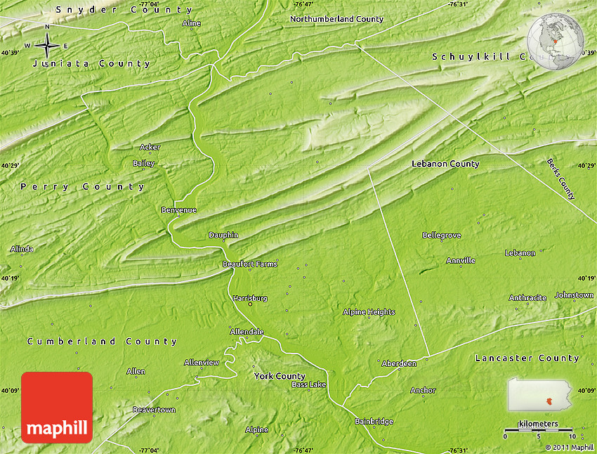 Physical Map Of Dauphin County - Dauphin county on us map