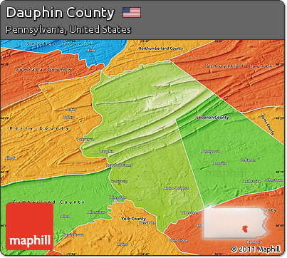 Free Physical Map Of Dauphin County Political Outside - Dauphin county on us map