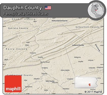 Free Shaded Relief Map Of Dauphin County - Dauphin county on us map