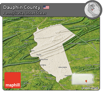 Free Shaded Relief Map Of Dauphin County Satellite Outside - Dauphin county on us map