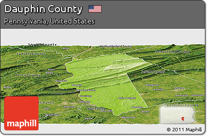 Free Physical Panoramic Map Of Dauphin County Satellite Outside - Dauphin county on us map