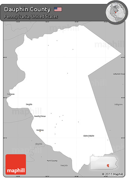 Free Gray Simple Map Of Dauphin County - Dauphin county on us map