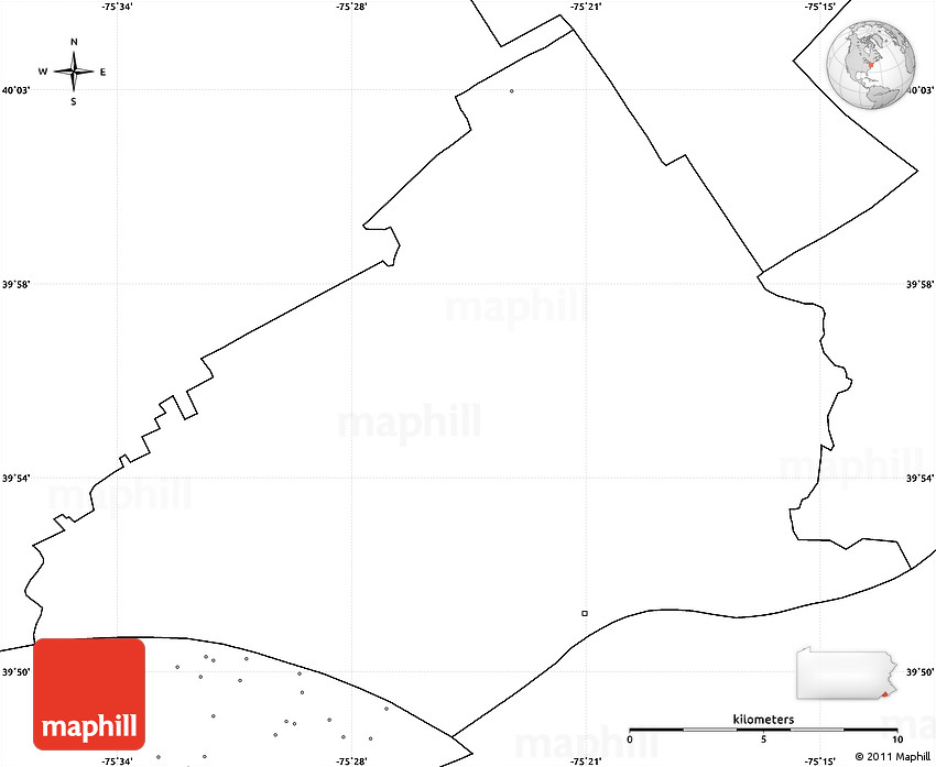 Blank Simple Map Of Delaware County No Labels - Us map no labels