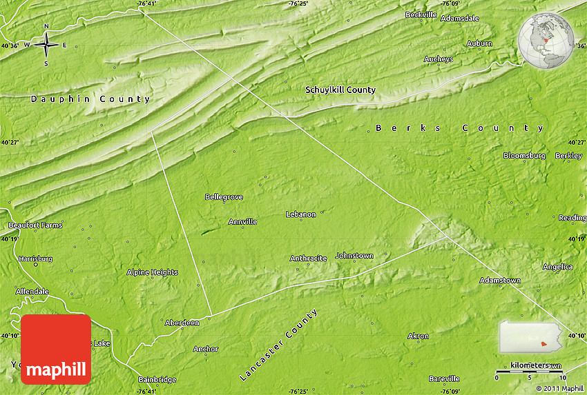 Physical Map of Lebanon County